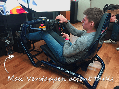 Max Verstappen oefent thuis